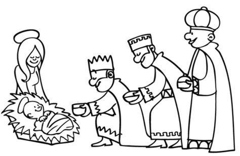 ausmalbild weihnachten: die heiligen drei könige überreichen die gaben kostenlos ausdrucken mit
