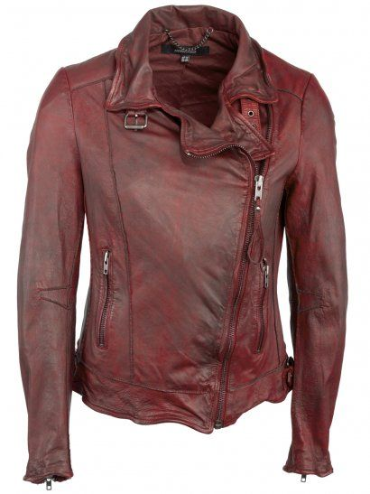 e4b858cc03f261 Muubaa Quinn Leather Biker Jacket in Cherry Red | Jackets, Coats ...