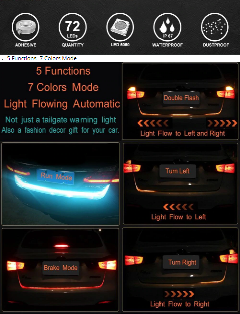 Additional stop light Flexible Tailgate LED Strip Trunk