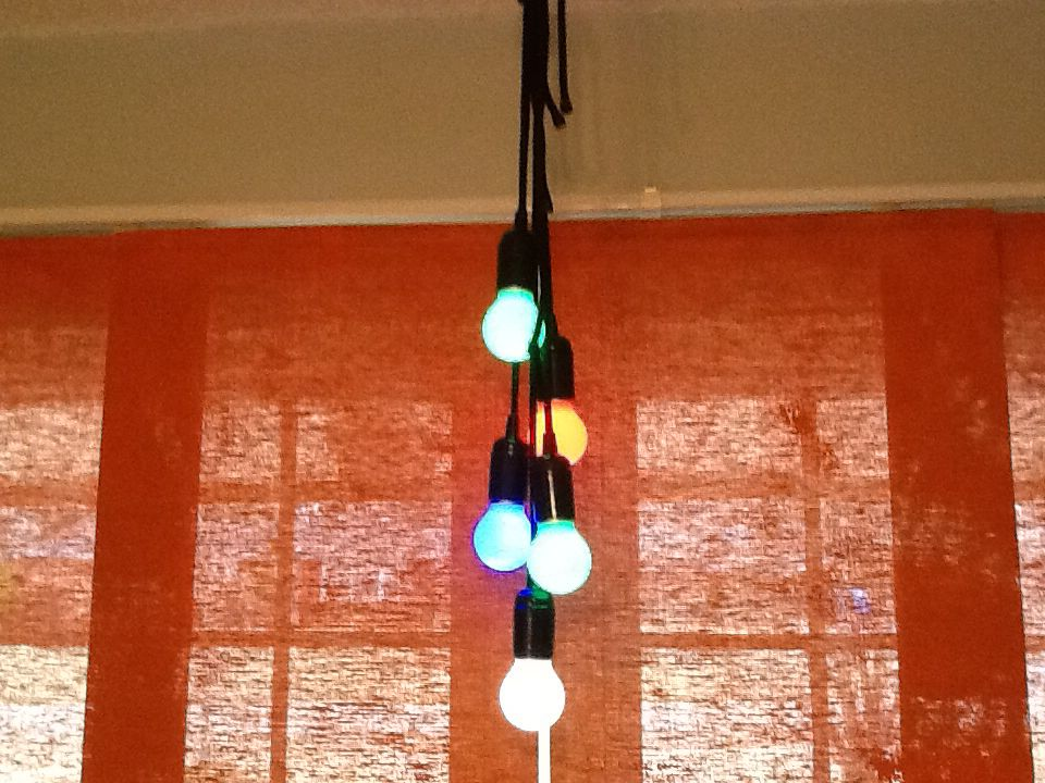 LED light bulbs on a rope. I put five together and tied a
