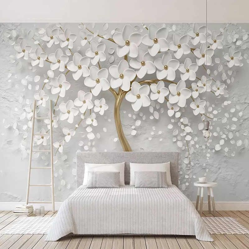 Custom Any Size Murals Wallpaper 3d Stereo White Flowers Wall Painting Living Room Tv Sofa Bedroom Backdrop Wall Papel De Parede Wall Painting Living Room Wallpaper Living Room Bedroom Wall
