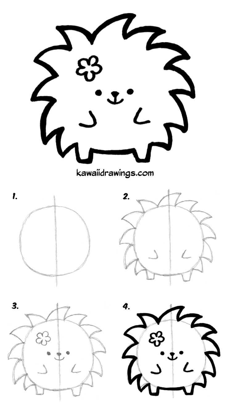 How To Draw Cute Animals Kawaii Porcupine In 4 Simple Steps Step By Step Tutorial Kawaii Howtodraw Tutori Kawaii Drawings Cute Drawings Cute Easy Drawings