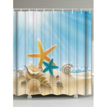 Starfish Conch Waterproof Fabric Shower Curtain Fabric Shower Curtains Shower Curtain Bathroom Shower Curtains
