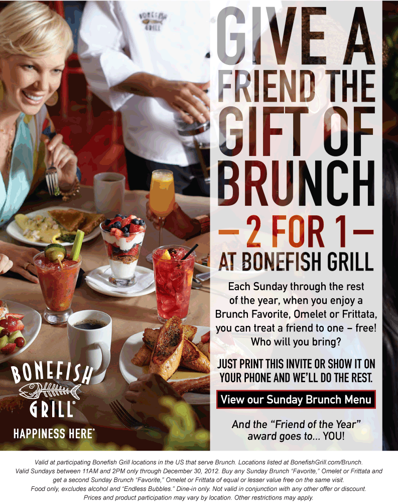image regarding Bonefish Grill Printable Coupon named Moment Sunday brunch no cost at Bonefish Grill dining establishments
