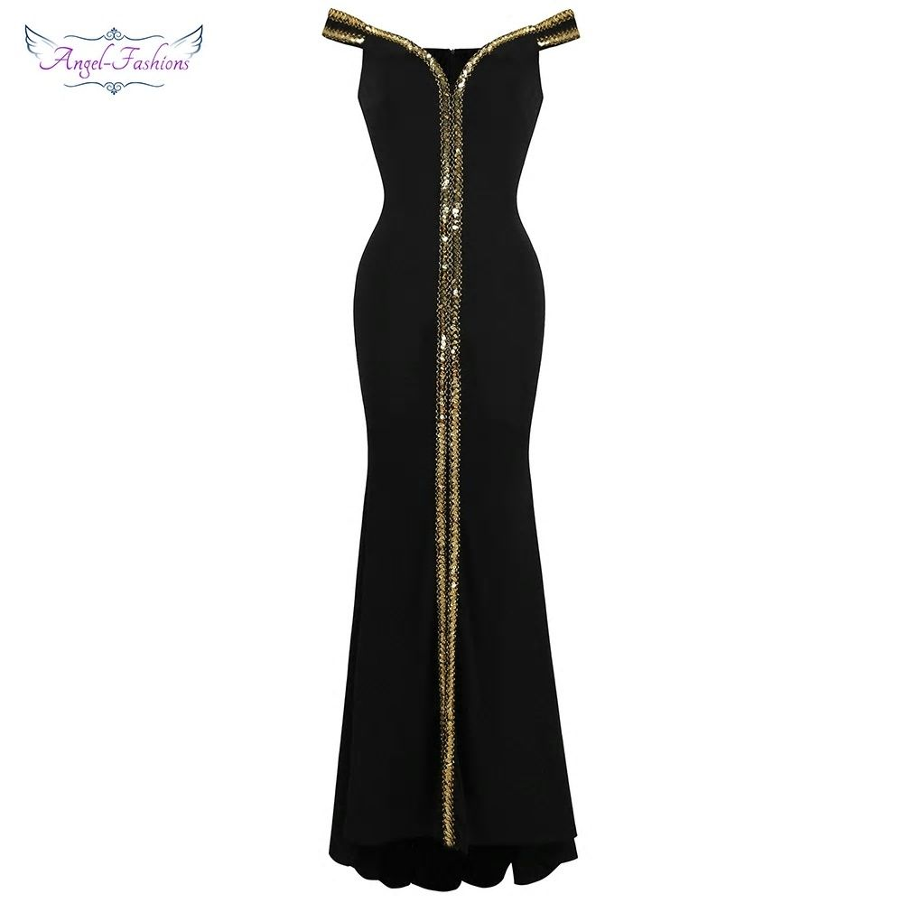 Angel-fashions Women s Off Shoulder Evening Dresses Gold Sequin Stretchy  Party Dress Black 398 a332085937ff