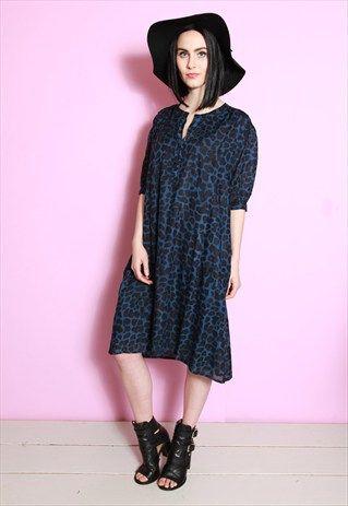 Vintage 1980's Blue/Black Leopard Print Loose Fit Dress