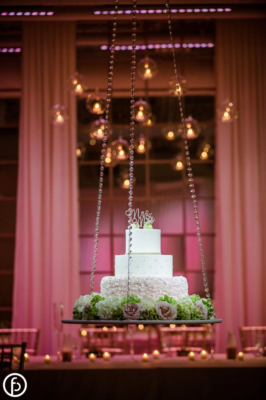 Be Inspired With A Suspended Wedding Cake This Beautiful Blush And White Cake Looks Like It Wedding Cake Table Suspended Wedding Cake Wedding Cake Decorations