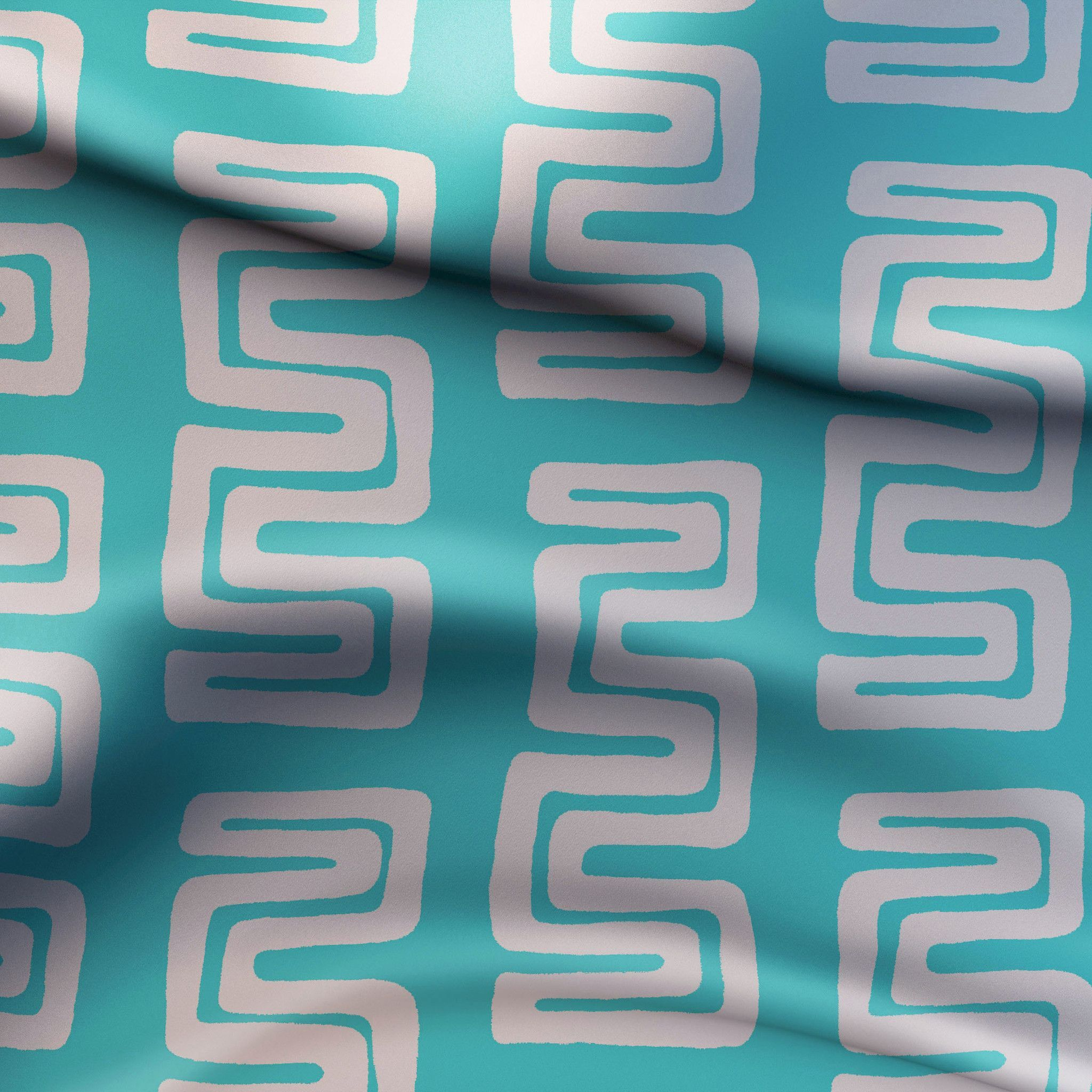 Modern Turquoise Mud Cloth Fabric for Upholstery