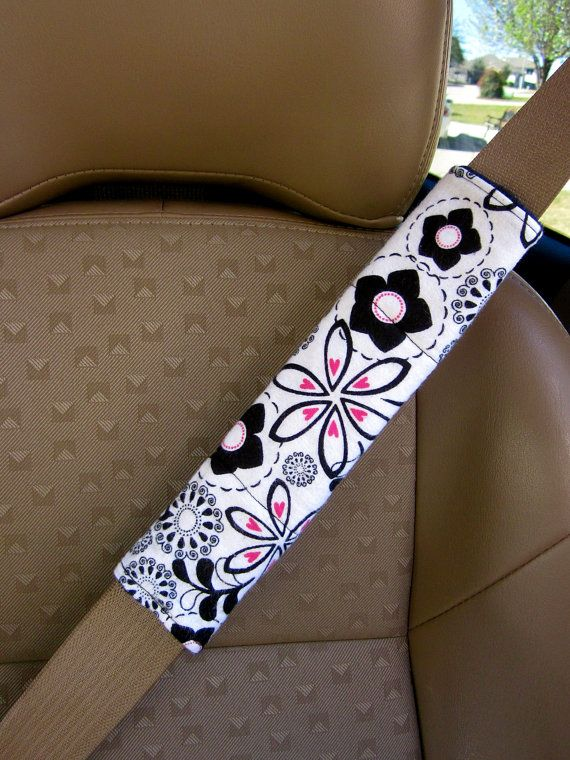 Seat Belt Cover White with Black and Pink Flowers by SewSerene4, $9.95