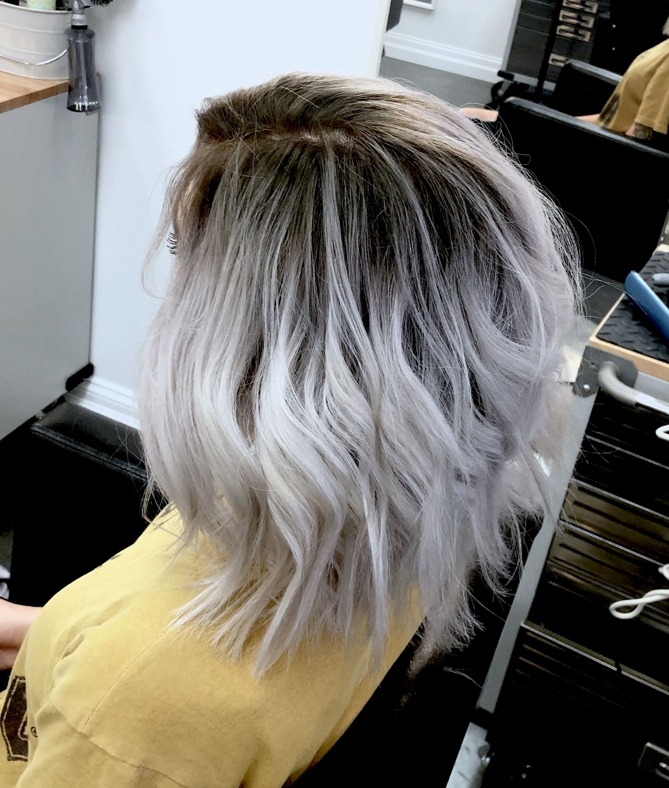 Ice Blonde With Dark Shadow Root Silver Blonde Hair Fall Hair