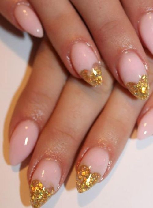 Glitter hearts on only 2 nails. Would change gold to another color ...