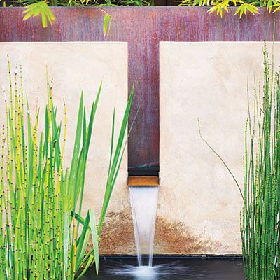 Calming wall fountain    This fountain and pool create a focal point near a dining area in Walnut Creek, Calif. The fountain's copper back and water trough define the smooth stucco wall.    Design: Stefan Thuilot with Joseph Huettl, Huettl Thuilot Associates, Berkeley (510/848-3200)