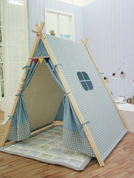blue teepee tent play tent by goodhapy on etsy pikaboo pinterest pijamada cuarto. Black Bedroom Furniture Sets. Home Design Ideas