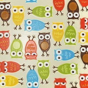 Natural Owls Slicker (Laminated Cotton) - Fat Quarter