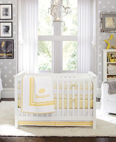 I don't usually pin pottery barn kids rooms (because in 5 minutes everyone else has the same room, bedding and all :), but this one it a cute idea for yellow and gray.  LOVE the polka-dot walls, I have a great stencil for that!