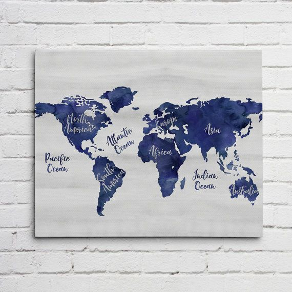 Navy blue world map canvas wall art with continent names office navy blue world map canvas wall art with continent names gumiabroncs Image collections