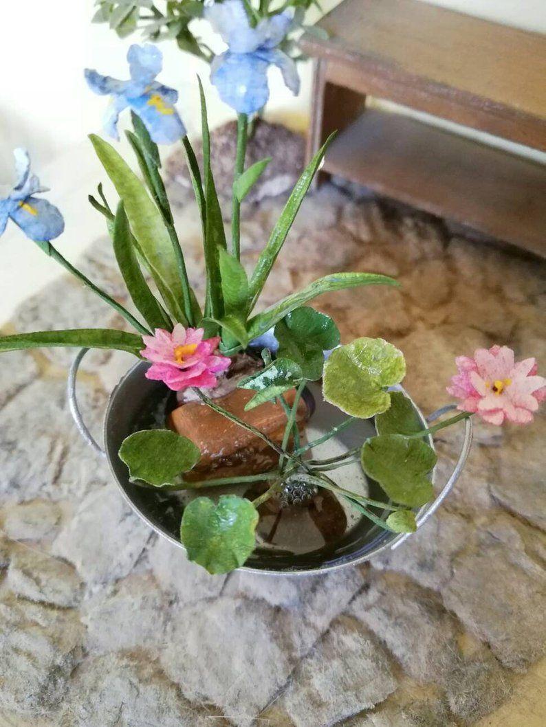 Dollhouse Miniature Paper Flower Garden Patio Pond Iris Waterlily