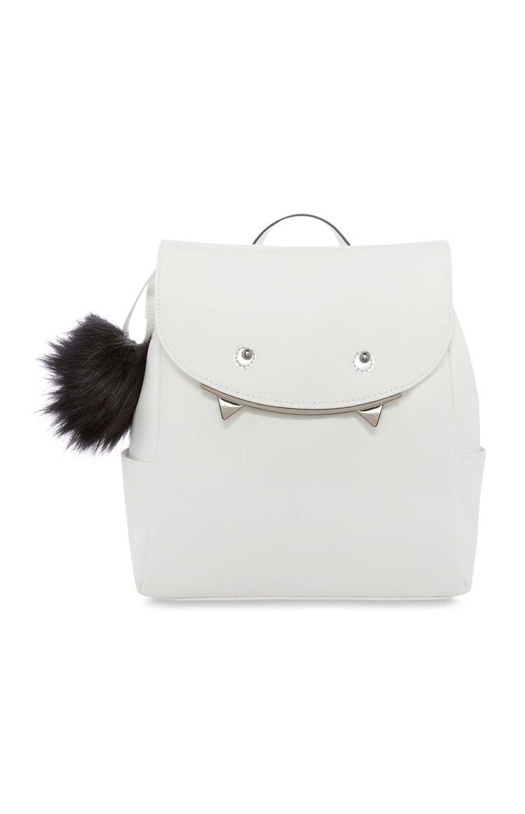 Primark - White Monster Backpack With Pom Pom   Bags   Pinterest ... 565801ffc1