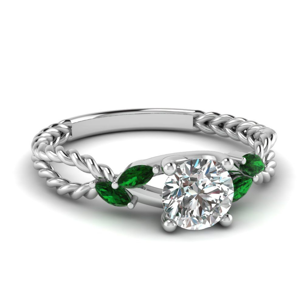 contemporary enement ring round cut diamond vintage diamond and emerald wedding - Emerald Wedding Rings
