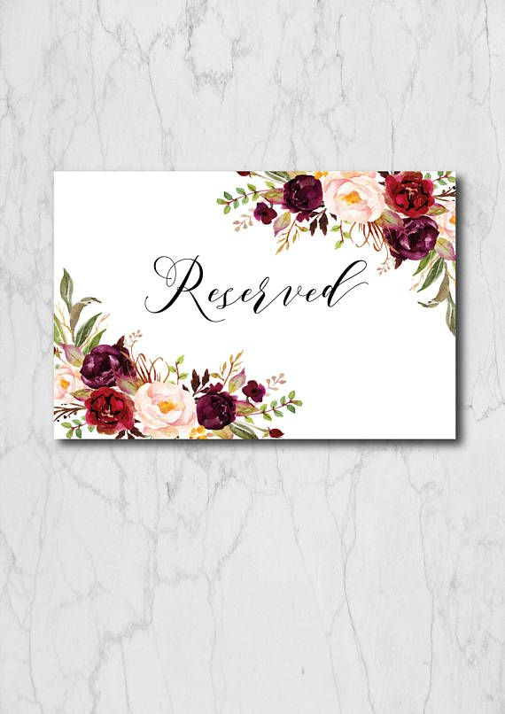 image regarding Printable Reserved Table Signs named Burgundy Reserved Indication Landscape Printable, Reserved Indications