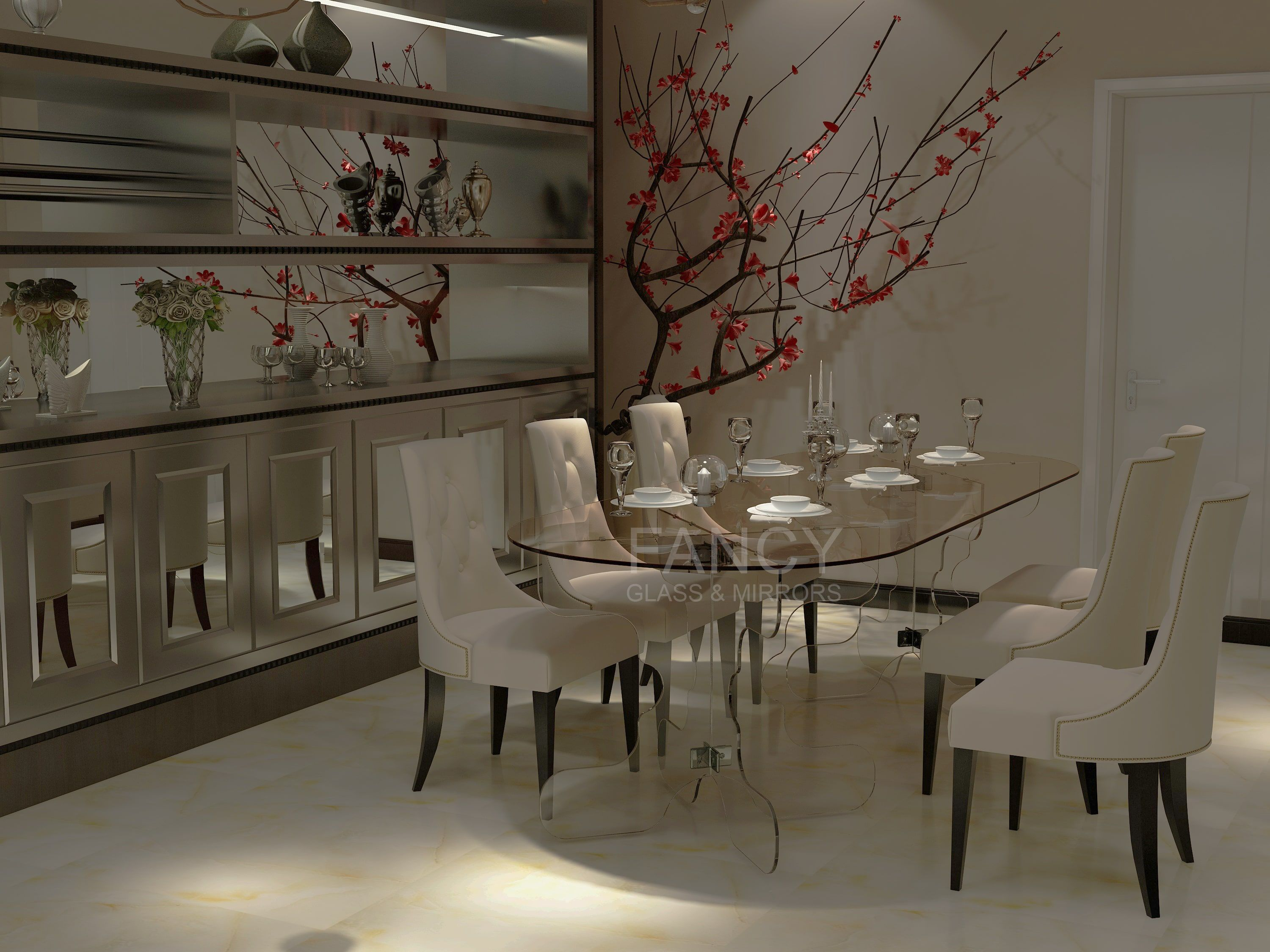 Fathy Glass Dining Table Has Been Designed To Offer You A Stylish Looking And Safe Using Piece Of Furnit Mirror Wall Living Room Mirror Wall Decor Dining Table