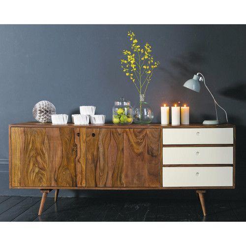 buffet long coulissant vintage andersen en bois plus clair - Meuble Tv Vintage Andersen