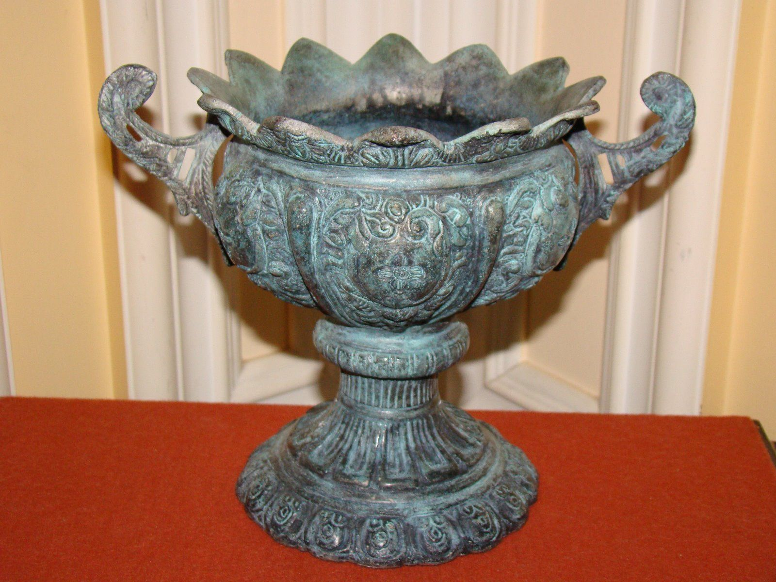 vintage decorative brass metal ornate bowl w handles base ebay