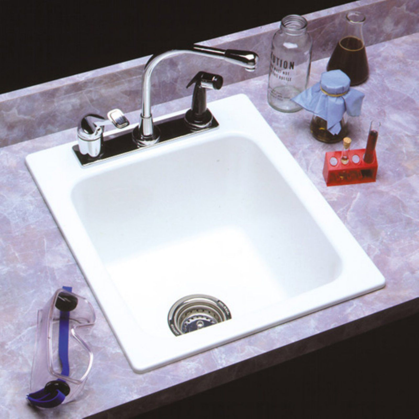 Mustee Durastone 11 Single Basin Drop In Utility Sink Bone