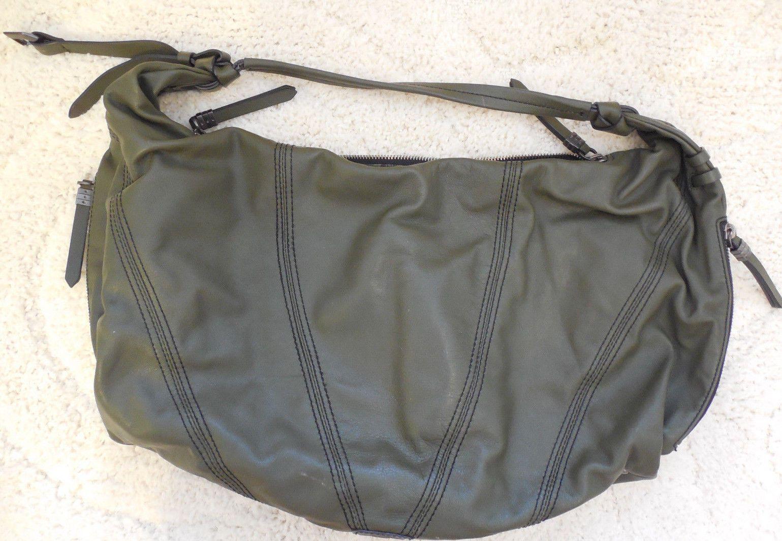 dabb872c059e Oryany Handbag Green Leather Hobo XXL Shoulder bag  lots of zipper  compartments  75.0