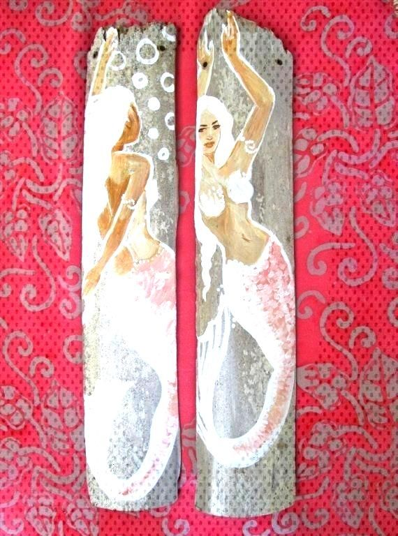 Items similar to Afro-Caribbean mermaids - Hand Painted Drift wood-  Bathroom decor- mermaid pin up