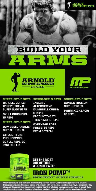 Arnold arms workout by musclepharm fitness pinterest arm arnold arms workout by musclepharm malvernweather Choice Image