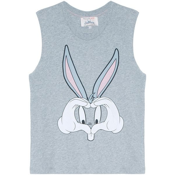 PAUL & JOE SISTER Looney Tunes Bugs Bunny Top (18.565 HUF) ❤ liked on Polyvore featuring tops, blue tank top, blue top, blue tank, cut off tank and cut-off
