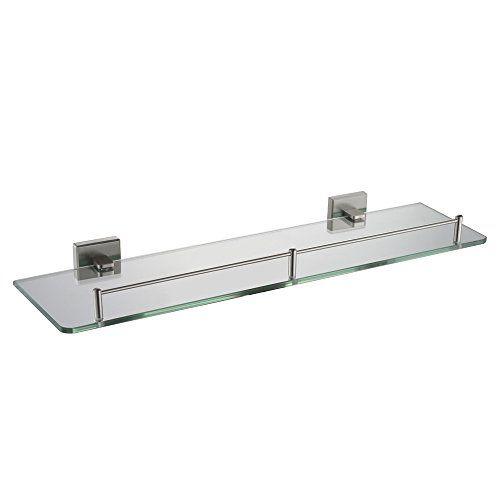 Angle Simple GB7913 Single-layer Rectangular Bathroom Glass Shelf