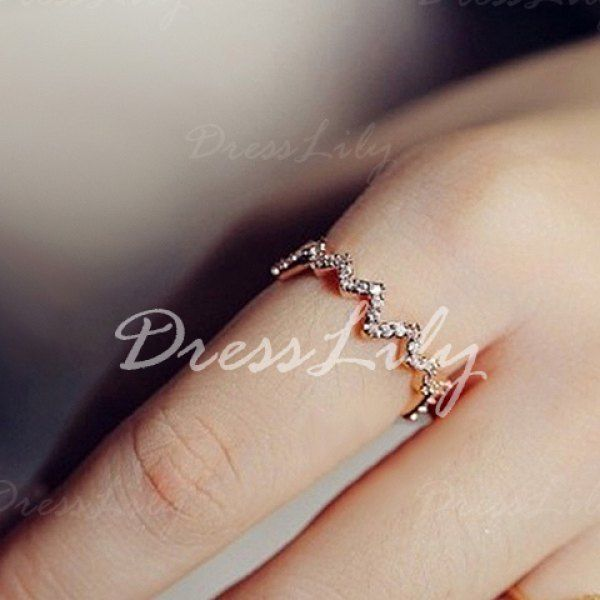 Sweet Rhinestone Decorated Wave Pattern Ring For Women #jewelry, #women, #men, #hats, #watches