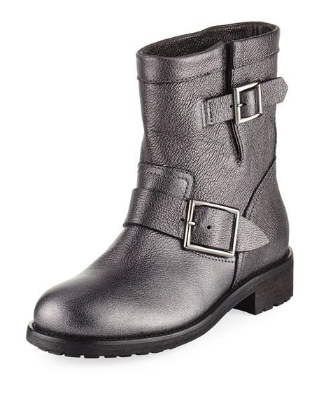 ecbd82d376718 JIMMY CHOO Youth Metallic Leather Biker Boot, Gray. #jimmychoo #shoes #