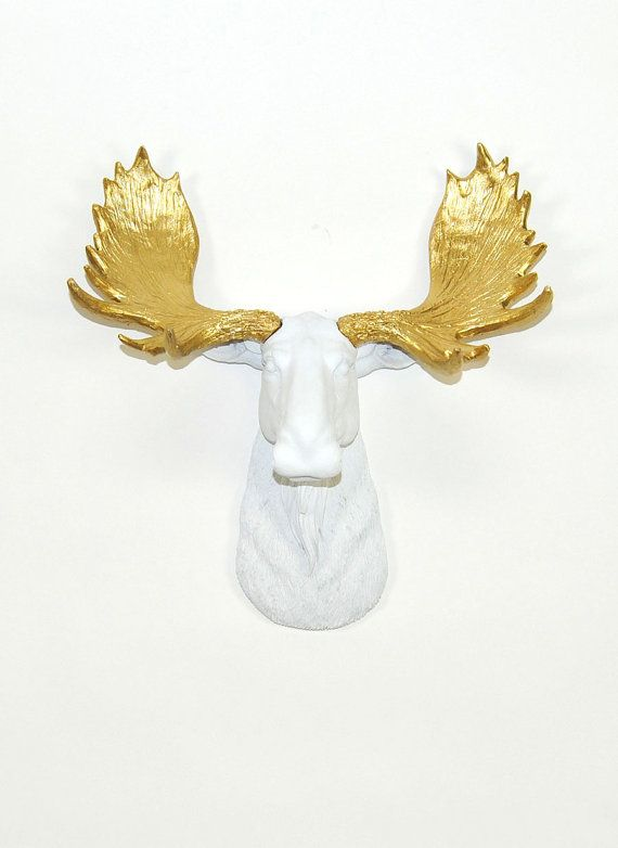 Faux Taxidermy The Mini Glitz Resin Moose Head Mount W Gold Antlers Faux Moose Head Decor By White Faux Taxidermy Animal Ornaments Faux Taxidermy Taxidermy Moose Head