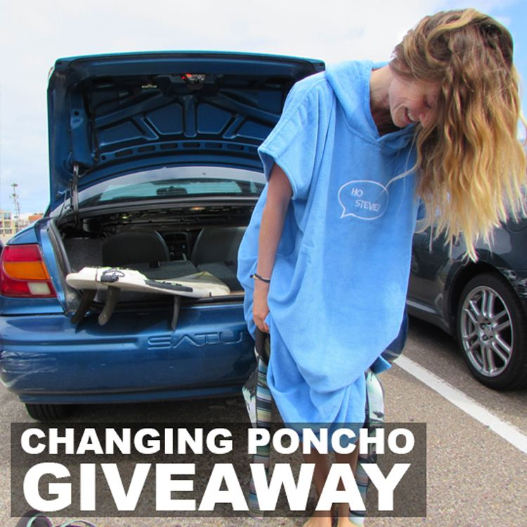 Later this month the blue ponchos will be back in stock, along with a new red color, and a grom size! Enter to win one at http://HoStevie.com/WIN
