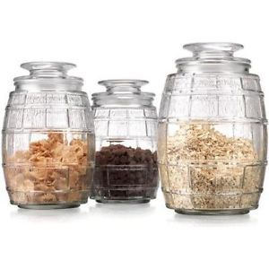 Barrel Designed Glass Kitchen Canister Storage Jars W Tight Lids Amazing Glass Kitchen Containers Design Decoration
