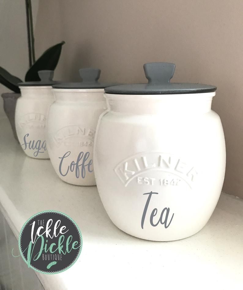 White And Grey Tea Coffee Sugar Canisters Kitchen Storage Grey Kitchen Canisters Cookie Jar Glass Canisters Kilner Jars In 2020 Kitchen Jars Storage Tea Coffee Sugar Canisters White Kitchen Storage Jars