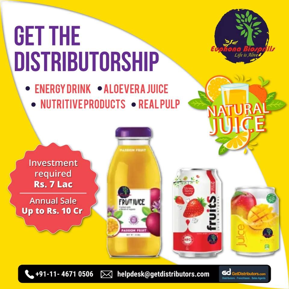 Get the distributorship of Juices and Energy Drinks. For