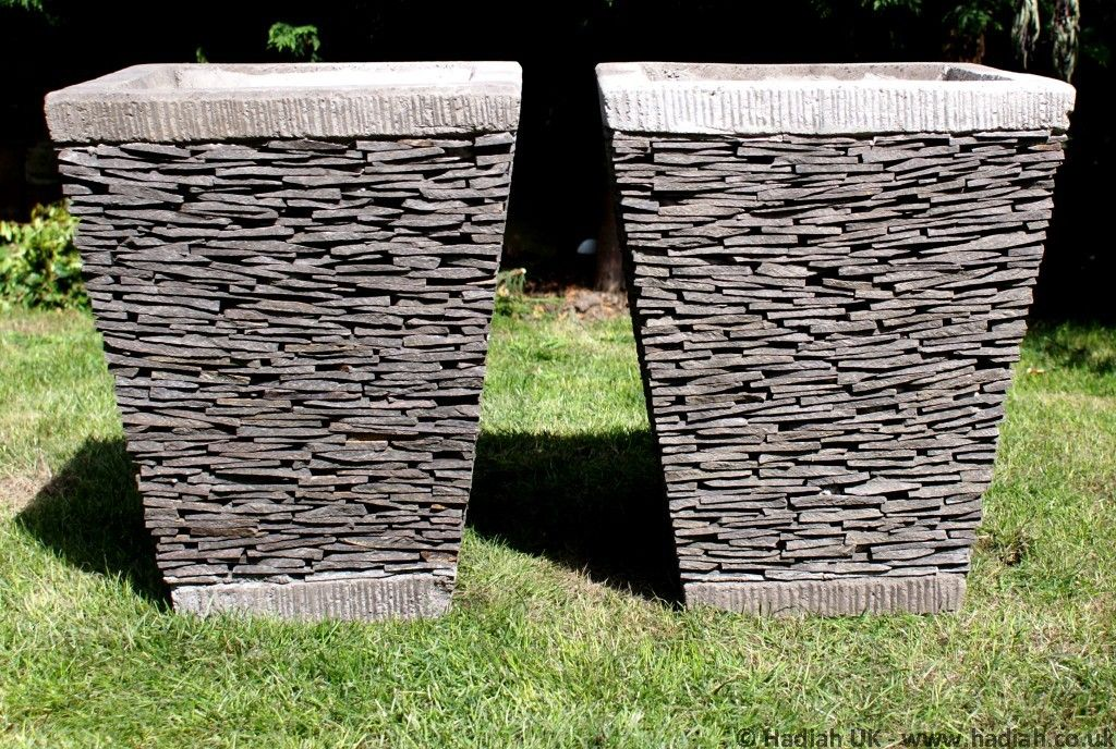 2 X 50cm Stacked Slate Planters