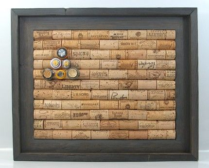 Corkboard made of old wine corks.