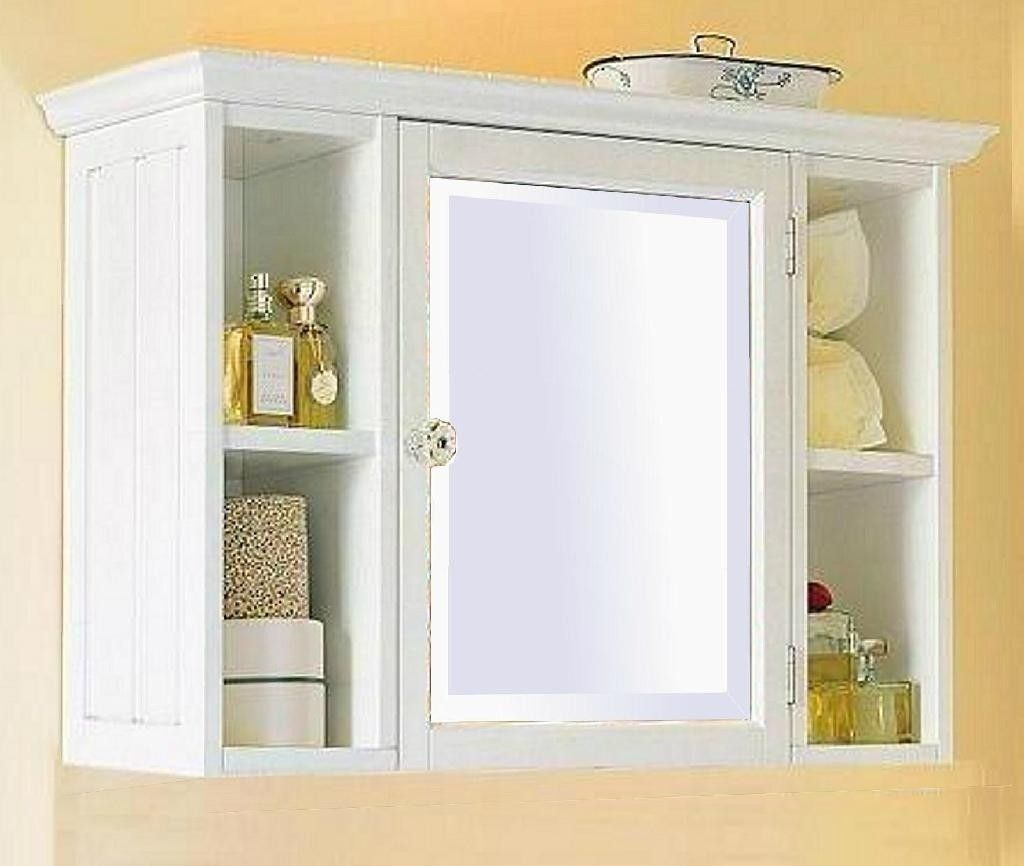 Small White Bathroom Wall Cabinet With Shelf Home Furniture