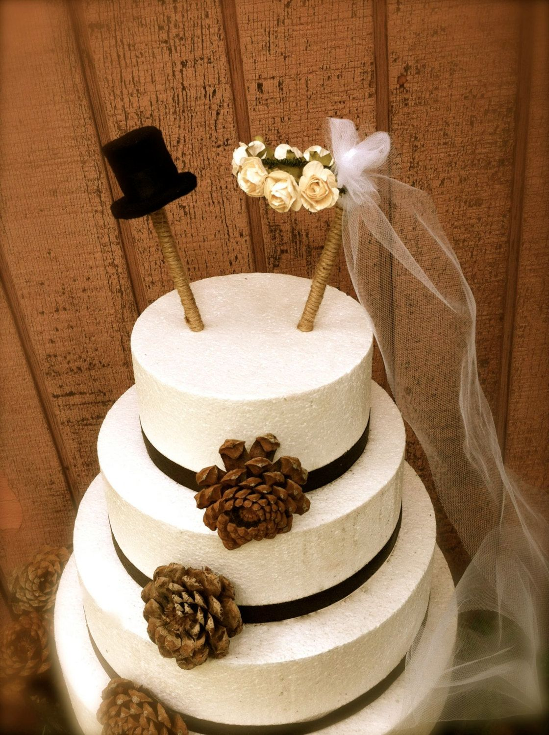 Rustic wedding cake topper bride groom cake topper cakes