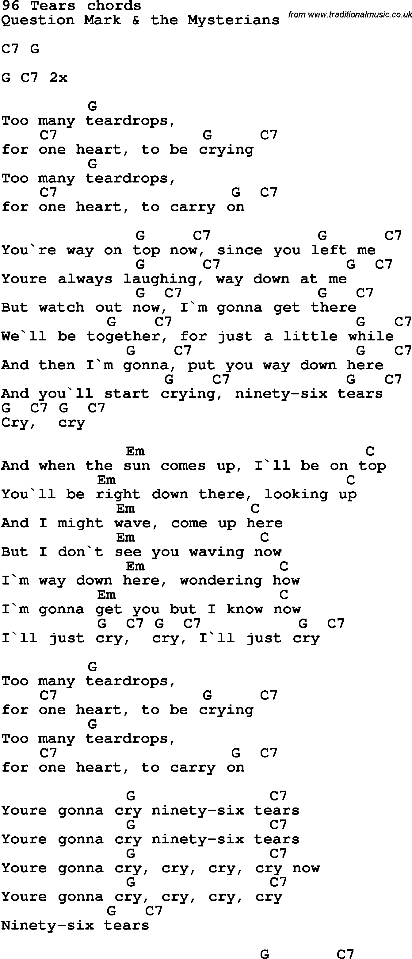 Song Lyrics With Guitar Chords For 96 Tears Musician In 2018