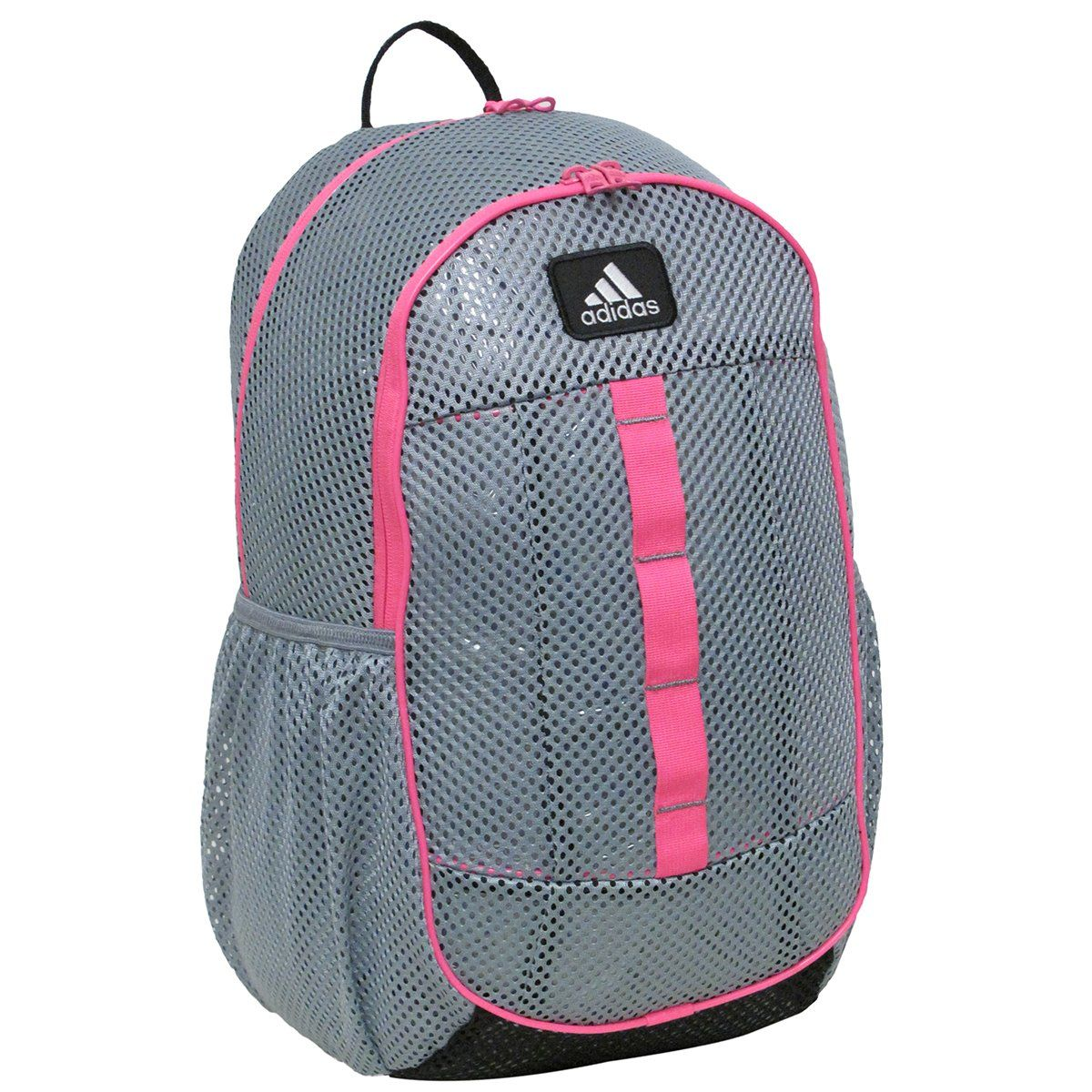 5c381d3f8a6ad Amazon.com : adidas Hermosa Mesh Backpack, Grey/Solar Pink, 19 1/2 x ...
