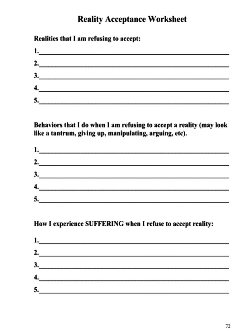 Reality Acceptance Worksheet Dbt Skills Application Self Help In 2020 Cbt Therapy Worksheets Dbt Skills Worksheets Dbt Therapy