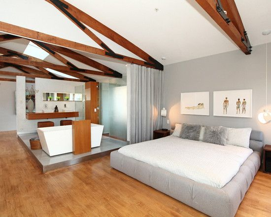 25 beach style open bathroom design ideas - Master Bedroom With Open Bathroom