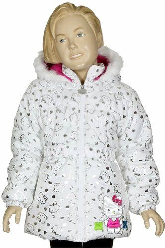 d715e0288 Hello Kitty Girls HK035 Fleece Lined Hooded Winter Jacket (4, White ...