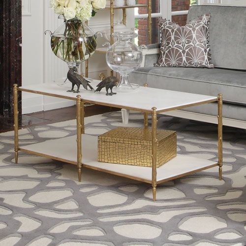 Global Views Brass and White Marble Arbor Cocktail Table